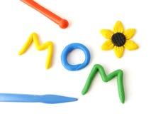 'mom' plasticine inscription Stock Images