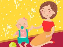 Mom playing ball with her little baby son photo, best moments on pictures, portrait of family members vector stock illustration