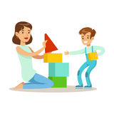 Mom Playing Blocks With Her Son, Loving Mother Enjoying Good Quality Mommy Time With Happy Kid. Child And Parent Having Fun Together Vector Cartoon Stock Photo