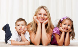 Mom playing with  children Stock Photography
