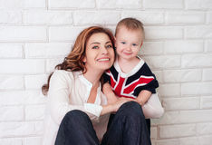 Mom plays with son Royalty Free Stock Image