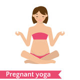Mom practicing yoga pose.Vector Illustration Royalty Free Stock Image