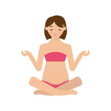 mom practicing yoga pose.Vector Illustration Royalty Free Stock Photography