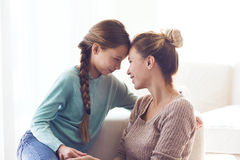 Mom with pre teen daughter Royalty Free Stock Images