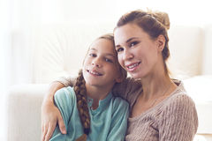 Mom with pre teen daughter Royalty Free Stock Photos