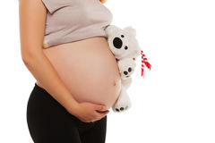 Mom in pregnancy holding a teddy bear. isolated on Stock Photos
