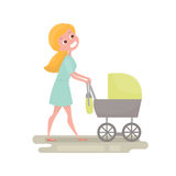 Mom pushing her baby in a stroller . Young woman with little baby on the walk. Mother character isolated. Vector Illustration Stock Images