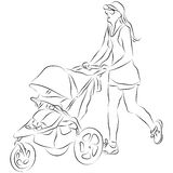 Mom Pusing Baby Stroller Stock Images