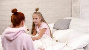 Mom quarrels with child daughter