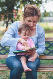 Mom reading a book her daughter Royalty Free Stock Photography