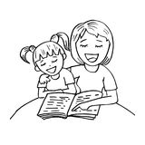 Mom reading a book to her kid stock illustration