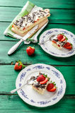 Mom's dessert with fresh strawberries Royalty Free Stock Images