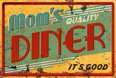 Mom`s Diner Cafe Restaurant Sign Royalty Free Stock Image