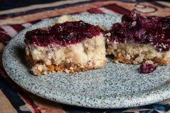 Mom`s homemade blueberry fruit topped dessert