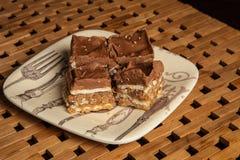 Mom`s homemade chocolate caramel wafer layer bar