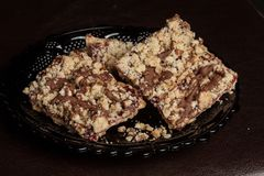 Mom`s Homemade Chocolate Raspberry Walnut Streusel Bars