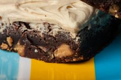 Mom`s homemade peanut butter chip brownies with peanut butter frosting