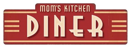 Mom`s Kitchen Sign Plaque Diner Decoration Cook. Vintage Sign 1940s 1950s 1930s grill style waitress stock image