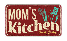 Mom's kitchen on vintage rusty metal sign. On a white background, vector illustration Royalty Free Stock Photo