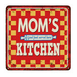 Mom's kitchen on vintage rusty metal sign Royalty Free Stock Images
