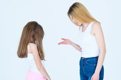 Mom scold daughter nag tell off family parenting. Mom scolding little daughter. mother nagging or telling off her kid. family relationship parenting and child Royalty Free Stock Images