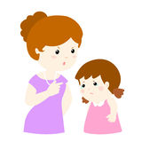 Mom scolds her daughter on white background  illustration Royalty Free Stock Image
