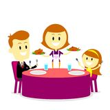 Mom Serving Meals for Family Dinner. Amom serving dinner meals for her husband and her daughter (in Flat Cartoon Style Royalty Free Stock Photos