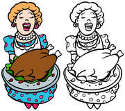 Mom serving turkey Royalty Free Stock Image