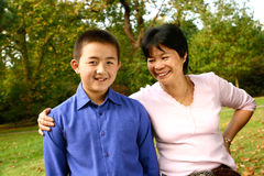 Mom sharing a joke with her young son Stock Photography