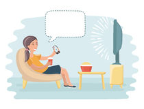 Mom sit and watch tv. Vector funny cartoon illustration of happy woman, watch tv and talking bublle speech above Stock Photo