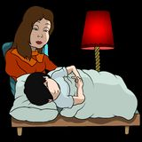 Mom And Sleeping Boy. Cartoon Illustration, Vector Royalty Free Stock Image