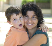 Mom and son. Mom holding her son ( happy familiy Royalty Free Stock Images