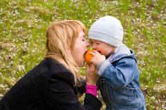 Mom and son. Mom and the son play with an orange on a lawn Royalty Free Stock Photo