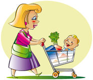 Mom and son. Do shopping at supermarket Royalty Free Stock Image