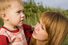 Mom and son. Mom talks to the son Royalty Free Stock Image