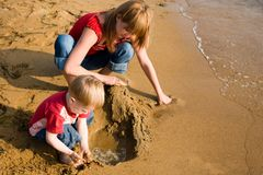 Mom and son. At the sea Stock Photography