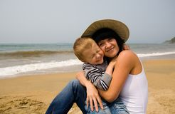 Mom & son. Mom embraces the favourite son. The child smiles Stock Images