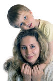 Mom and son. Portrait of a happy family- son and mother Stock Images
