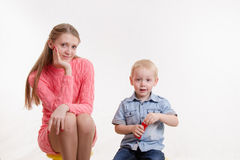 Mom and son blow bubbles Royalty Free Stock Images