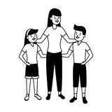 Mom with son and daughter. Vector illustration vector illustration
