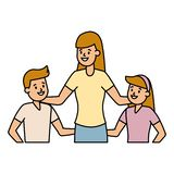 Mom with son and daughter. Vector illustration stock illustration