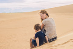 Mom and son in the desert. Traveling with children concept Royalty Free Stock Photography