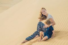Mom and son in the desert. Traveling with children concept Stock Photo