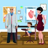 Mom and son in doctor s office. Vector illustration Stock Photography