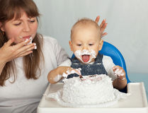 Mom and son eating cake. Royalty Free Stock Images