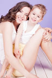 Mom and son embrace smile played. Family Royalty Free Stock Photos