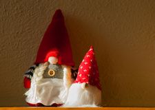 Mother and child of Christmas dwarf puppets royalty free stock images