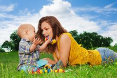 Mom and son - happy together Stock Images