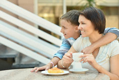 Mom and son having breakfast Royalty Free Stock Image