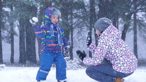 Mom and son having fun outside in a forest or park on a beautiful winter snowy day during a snowfall. A child throws a stock video